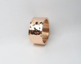 Copper Ring, handmade Hammered Copper Ring, Mens Custom Ring, 9mm Wide, Copper Engagement Ring, Made to Size Engraving Available