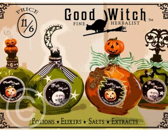 Halloween Art, Halloween, Digital Illustration, Green, Orange, 5x7, Matted, Framed, Good Witch, Herbal Potions, Apothecary