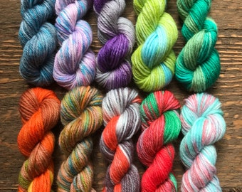 Hand Dyed Sock Yarn Mini Skein Set #135 -- 10 Mini Skeins/25 Yards Each