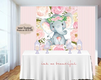 Candy Table Backdrop, Baby Shower, Birthday Party, Blush Pink,Elephant, Flowers, Floral 4x4 and 4wx6h