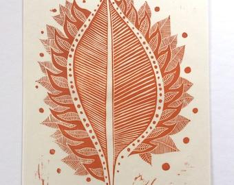 linocut - BURNING LEAF // 9x12 art print // printmaking // block print // leaf print // autumn // red orange wall art // fire art // 8x10