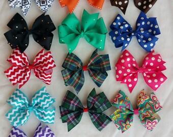Big Hair bows- 5 inch Pinwheel Hairbows - Set of 3 -Large Hair Bows - Girls Hair Bows - Toddler Hairbows - Solid hairbows - pattern hairbows
