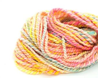 "Handspun Art Yarn/ ""Candy Hearts""/ Art Yarn/ Handspun Yarn/ Neon Yarn/ Rainbow Yarn/ 2-Ply Slub Yarn/ Super Bulky Yarn"