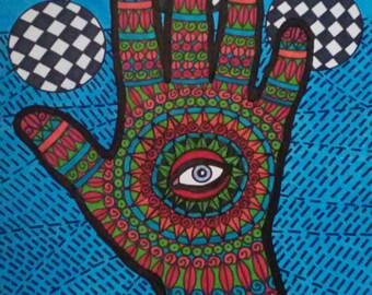 Multicolored Hand with Checkered Circles and Turquoise Sky Blue Eye Pen and Ink Drawing