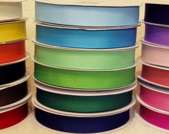 90 YARDS of 7/8 Grosgrain Ribbon - You Receive 5 Yards Each of 18 SOLID Colors of Ribbon
