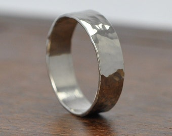14K White Gold Mens 5mm Ring or Wedding Band, Hammered Texture Sea Babe Jewelry