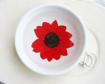 Red Sunflower Ceramic Dish, Pressed Flower Dish, Real Flower ring Dish, Rustic Bridal Gift, Decorative Dish, Jewelry Organizer