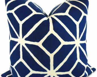 Trina Turk Marine Blue Trellis Indoor Outdoor Pillow Cover, Schumacher, 18x18, 20x20, 22x22 or 14x20