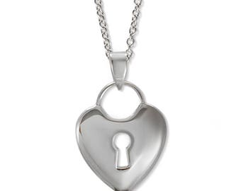 Silver Heart Love Lock Key Pendant - Valentines Day - Gift for girlfriend - gift for wife - birthday - romance gift