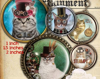 Steampunk Cat 1 Inch, 1.5 inch and 2 inches Digital Collage Sheet Bottle Cap Images Round Circles for Jewelry Making, Cupcake Toppers