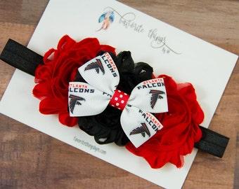Atlanta Falcons Headband. Falcons Headband. Falcons Flower Headband. Shabby Flower Headband.