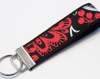 Fabric Key Fob, Key Chain, Key Ring, Key Holder, Wristlet Key Fob, Wristlet Keychain, Fabric Key fobs-Crazy flowers