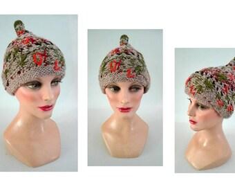 bonnet femme ethnique, chapeau hiver laine, Mütze, bonnet brodé, bonnet enfant, bonnet original