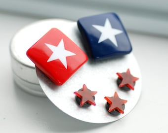 Magnets, Red, White and Blue, Stars, Vintage Lucite, Patriotic, Fridge Magnets, Teacher Gift, Set of 5 - Deep in the Heart of Texas