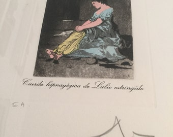 Salvador Dali print color etching Les Caprices de Goya, hand signed in pencil by Dali for sale by Estate ReSale & ReDesign