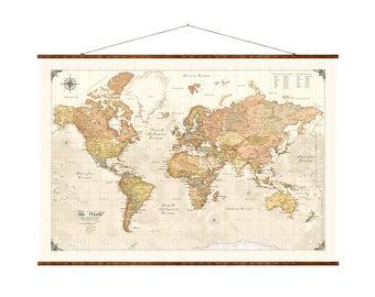 "Modern World Map, 31""x44"", Canvas Map, modern map, map on canvas, modern day map, map of the world, pull down world map,"