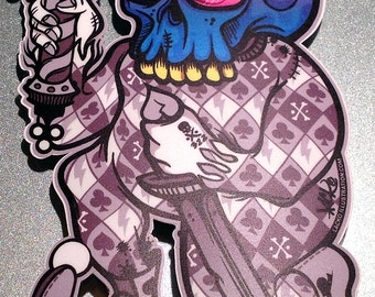 Infinite Jest - Full Color Vinyl Harlequin Skull Decal / Sticker