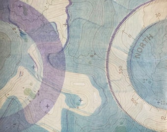 North by Northwest, monotype, unique, print, map, uncharted, rice paper, blue, purple