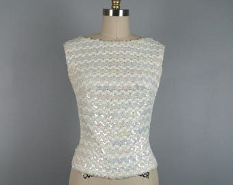 Vintage 1960s White Opalescent Sequin Shell Top 60s Sequin Ribbon Top Size 4-6 Small