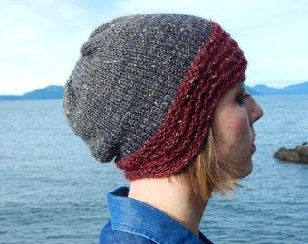 Old Shale Knit Hat Pattern/PDF INSTANT Download Pattern/Women's Beanie Pattern/Knitting Pattern Lace Brim Hat/Slouchy Style Cloche Beanie
