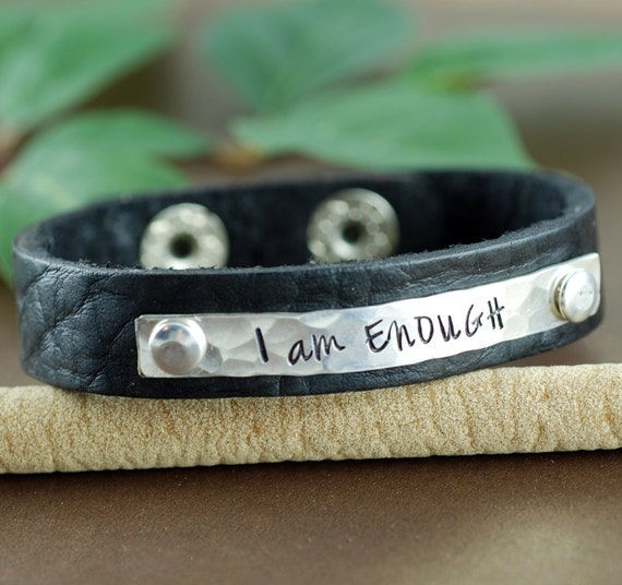 I am Enough Leather Bracelet, Personalized Leather Cuff Bracelet, Inspirational Leather Bracelets, Leather Cuff, Silver Cuff Bracelet