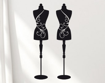2 Mannequin Decor Wall Decals: Dress Forms, Sewing Room Decor, Bedroom Decor, Vinyl Wall Sticker
