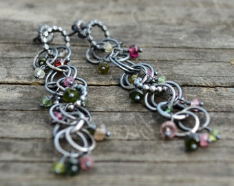 berry on the vine earrings - tourmaline and sterling silver