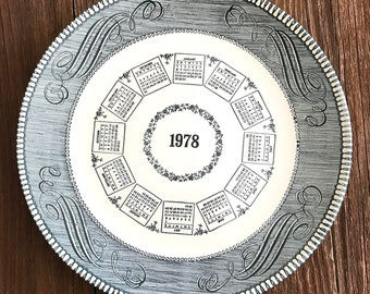Currier and Ives Commemorative 1978 plate, calendar, blue transferware