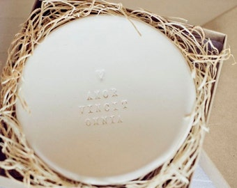 ring dish AMOR VINCIT OMNIA tiny text bowl- love conquers all by Paloma's Nest