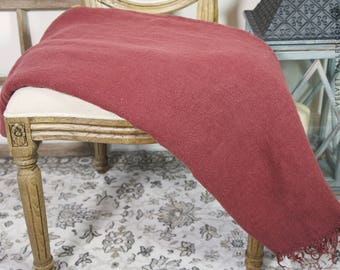 Linen auburn burgundy red throw- Bordeaux twin/full size blanket-Thick dense softened linen bed quilt