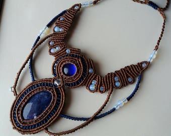 Sodalite macrame necklace, brown macrame necklace, boho stone macrame jewelry