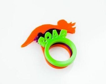Dinosaur Stacking Rings. Triceratops and ROAR Stacking Acrylic Rings. Dinosaur Ring.