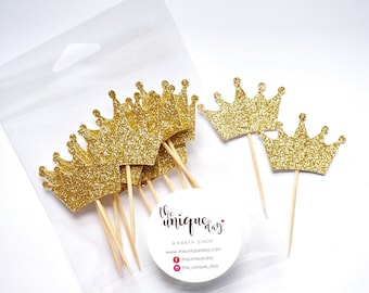 Glitter Gold Princess Cupcake  Toppers - Set of 12