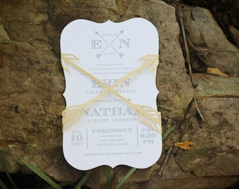 Arrow Wedding Invitation Belly Band / Wedding Invitation Enclosure