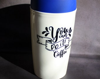 You Can Do It - Coffee - Travel Mug - 10 ounce - Double Walled Insulated Ceramic - Silicone Lid