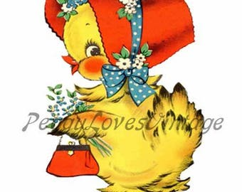Easter 2 a Sweet Girly Chick a Digital Image from Vintage Greeting Cards - Instant Download