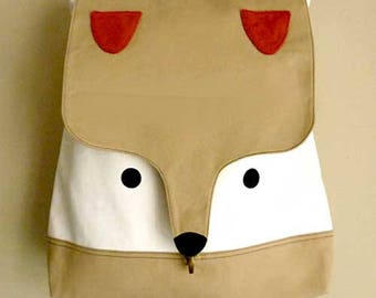 Beige Cream Fox Backpack ON SALE Fox Bag Laptop Padded Backpack Diaper Backpack Vegan Fabric Travelling Backpack Women Men Teens Backpack