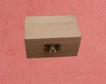 Unfinished wood box with latch