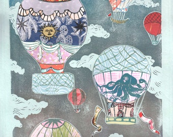 Hot Air Balloons X - Multimedia - Lino Block Print Historic Hot Air Balloons in Cloudy Sky with Collaged Japanese Papers & Ephemera