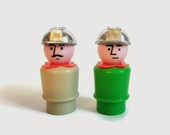 Vintage Fisher Price Little People Construction Workers with Silver Helmets