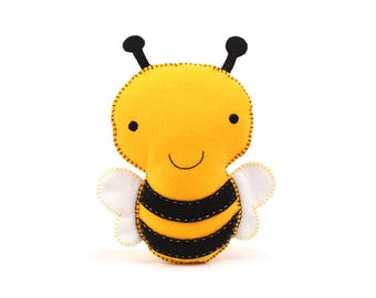 Bumblebee Sewing Pattern, Stuffed Felt Bee Plushie Pattern, Bumble Bee Feltie, Honey Bee, Instant Download PDF, Bumblebee Decor, Easy Sewing