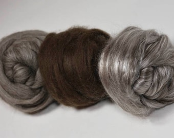 Yak Pack! Yak Spinning Fiber Assortment, Great Gift for a Spinner, Try Exotic Fibers, Sampler of Yak and Yak Blends