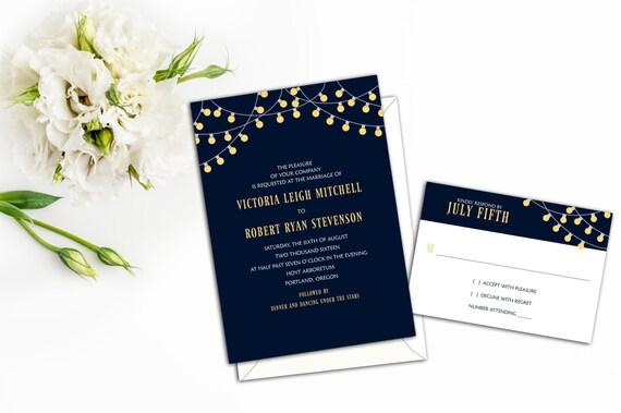Classy Party Lights Wedding Invitations