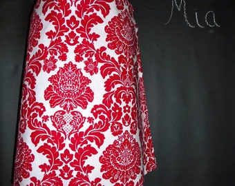 A-line SKIRT - Michael Miller - Red and White Damsk - Made in ANY Size - Boutique Mia