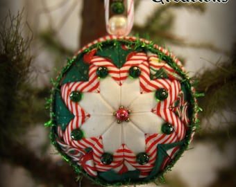 Handmade Quilted & Beaded Christmas Ball Ornament Green Red White