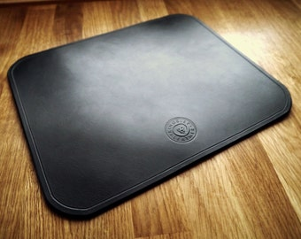 Real Leather Mouse Mat -  A Handcrafted Leather Computer Mouse Pad - Black - Handmade in England