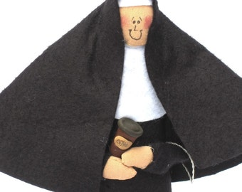 Funny nun doll sister doll the coffee-loving sister with a coffee cup