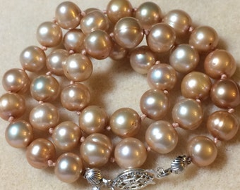 9MM Pearl Necklace 17 Inch Champagne Freshwater Cultured Pearls With Silver Findings