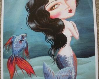 Mermaid Art by Lori Gutierrez!  Mermaid Vixen, Beautiful Brunette, Gorgeous and Fun!