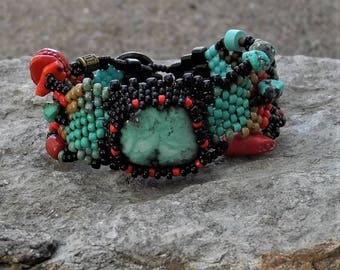 Jewelry - Free Form Peyote Stitch Beaded Bracelet  - Bead Weaving - Turquoise -  Coral - BOHO
